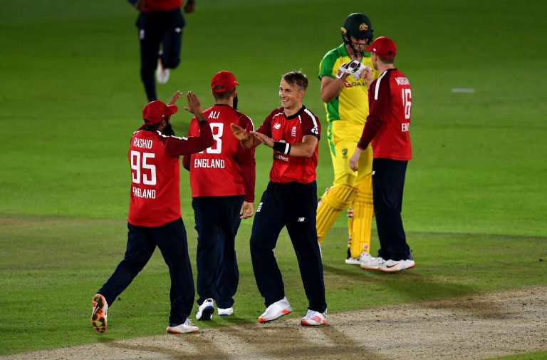 England celebrate after they beat Australia by two runs in the first of three Twenty20 internationals at the Ageas Bowl