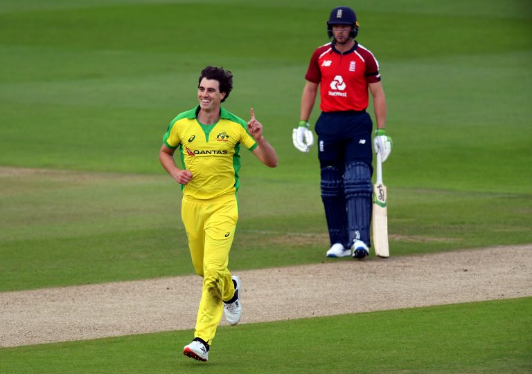 Australia vice-captain Pat Cummins claimed the wicket of Jonny Bairstow in Friday's first Twenty20 international