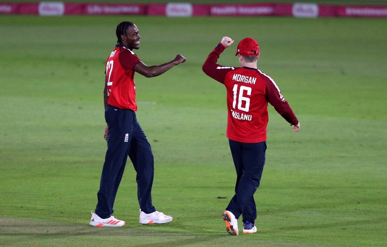 Jofra Archer, left, was back in England's white-ball colours for the first time since the World Cup final in July 2019