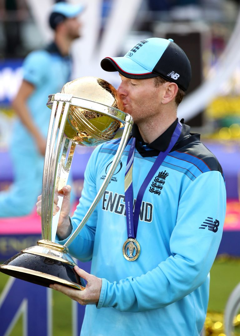 England captain Eoin Morgan with the World Cup after Super Over success against New Zealand in July 2019