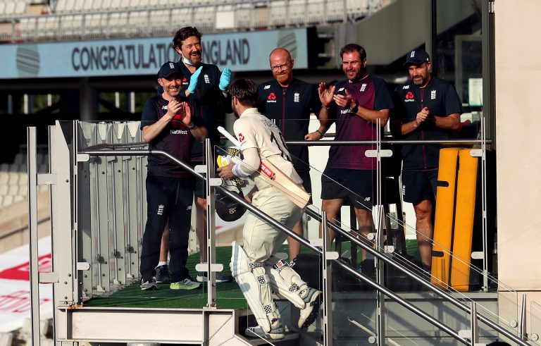 Chris Woakes took the plaudits on the England balcony.