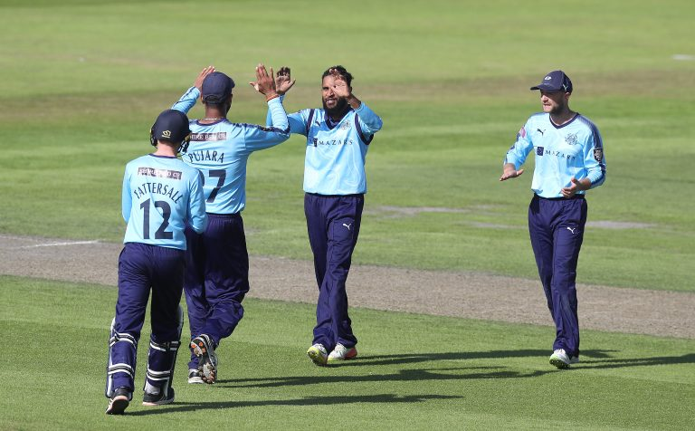 Rashid, centre, has taken 110 T20 wickets for Yorkshire (Martin Rickett/PA)