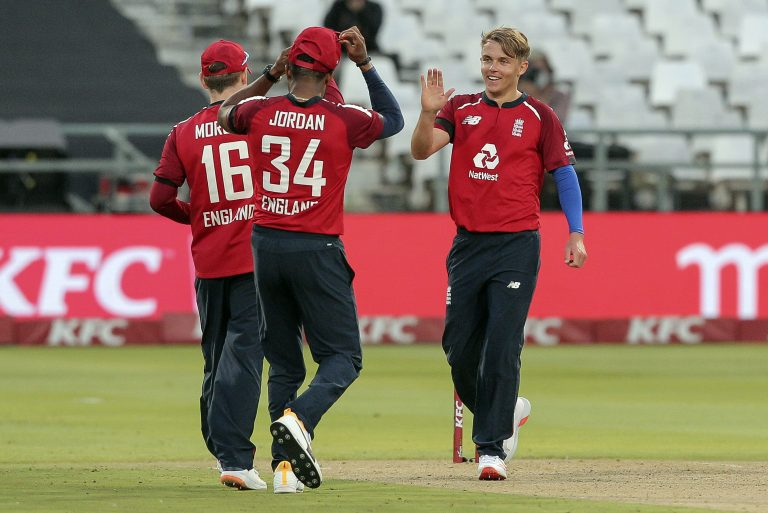 England bowler Sam Curran celebrates the wicket of Heinrich Klaasen