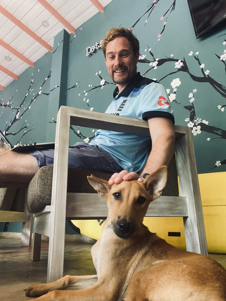 Rob Lewis and Pup the dog