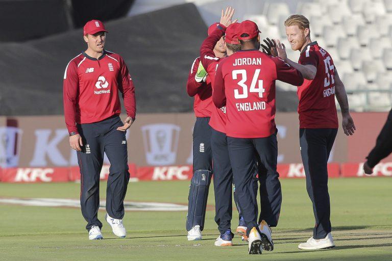 England celebrate the wicket of Reeza Hendricks in Cape Town