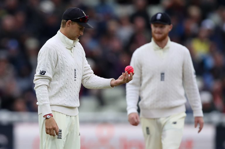 England captain Joe Root with the pink ball during England's first pink ball Test.