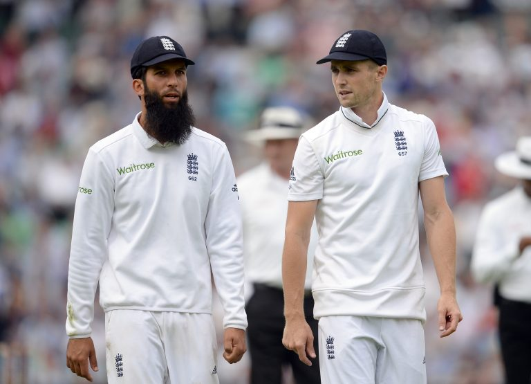 Moeen Ali (left) has tested positive for Covid-19 and Chris Woakes (right) is also isolating.