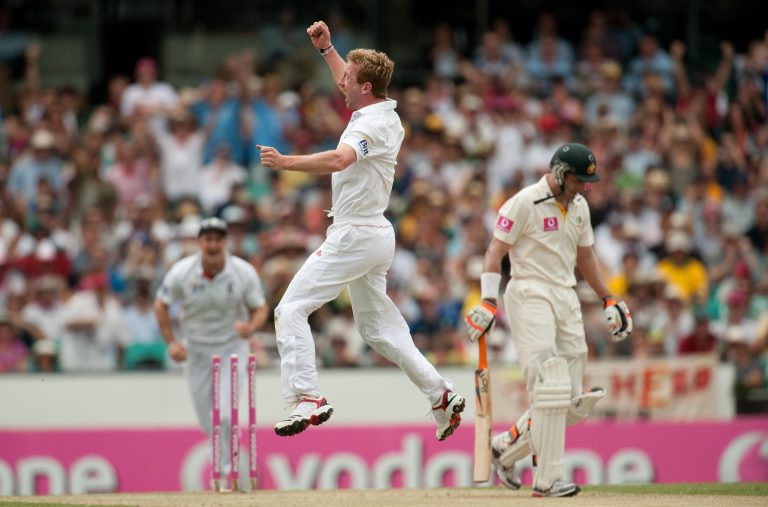 Paul Collingwood celebrates taking a wicket during his final Test