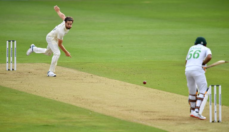 Chris Woakes in action for England