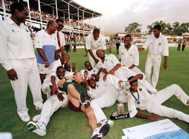 The West Indies celebrate their 3-1 series win against England in 1994
