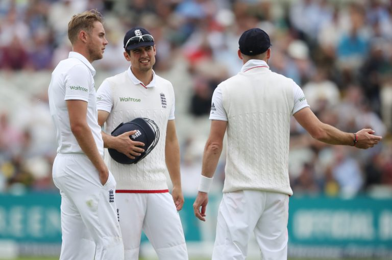England's three most capped Test performers discussing tactics.