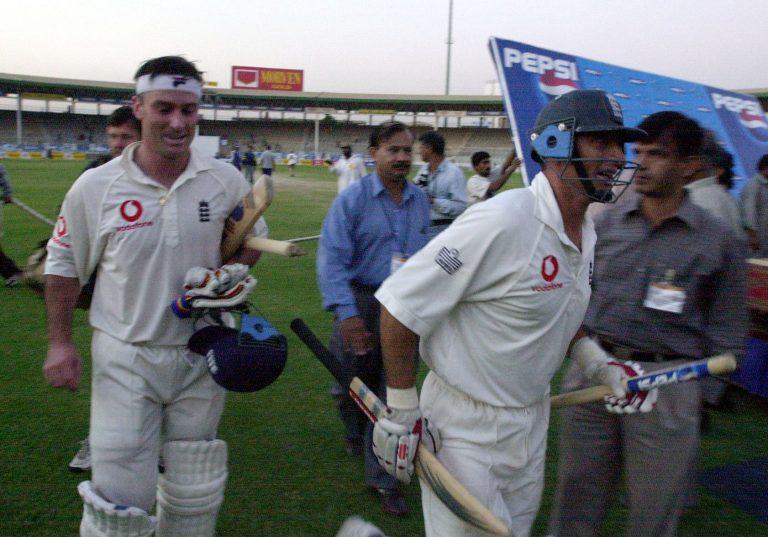 Nasser Hussain (right) and Graham Thorpe (left) celebrate in Karachi.