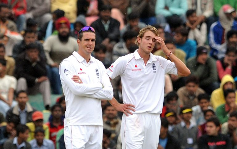Stuart Broad, right, looks dejected during the 2008 Test in Mohali