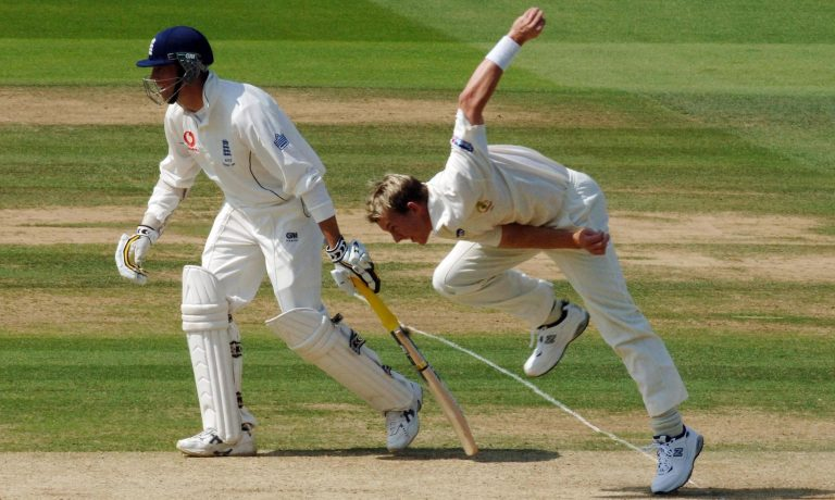 Australia fast bowler Brett Lee bowls a delivery
