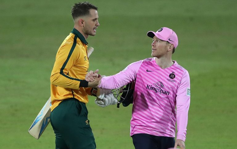 Eoin Morgan, right, says Alex Hales has his work cut out to get back into the England side (Nick Potts/PA)