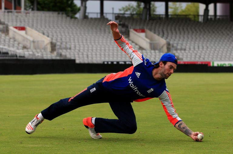 Reece Topley training with England back in 2015.