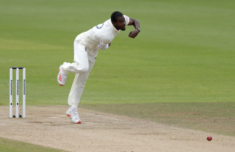 England's Jofra Archer bowling in a Test match