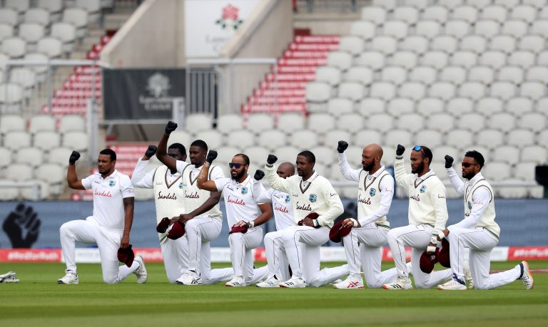 West Indies and England players took the knee in support of Black Lives Matter last summer (Martin Rickett/PA)