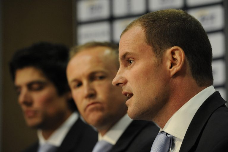 Strauss (right) stepped down as captain and retired from one-day cricket (Rebecca Naden/PA).