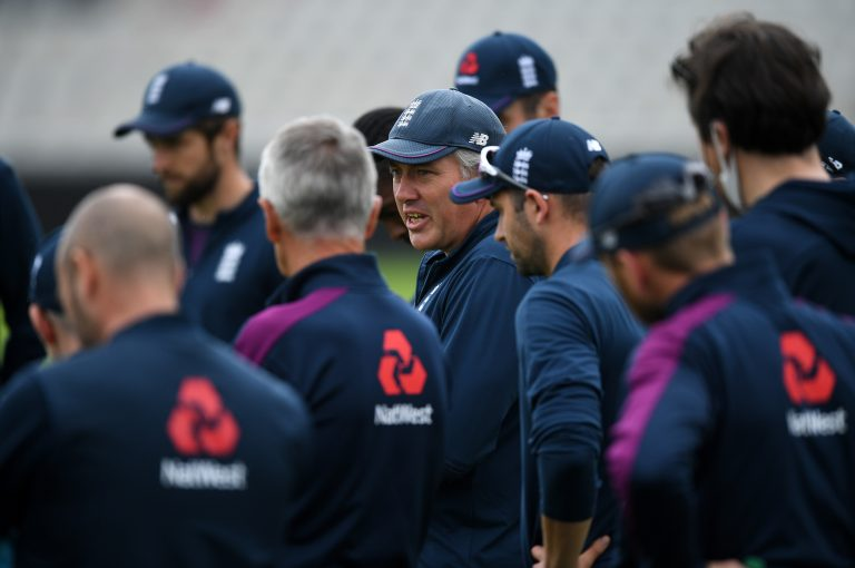 England coach Chris Silverwood, centre
