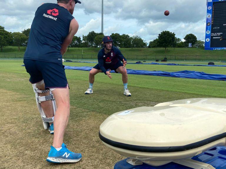 James Bracey training with England in Sri Lanka.