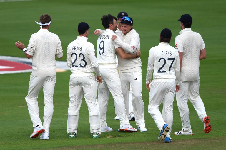 James Anderson and England celebrate a wicket