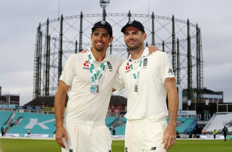 James Anderson embraces Sir Alastair Cook, left, after the former England captain's 161st and final Test