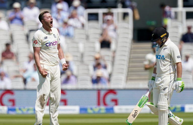 Ollie Robinson celebrates a wicket