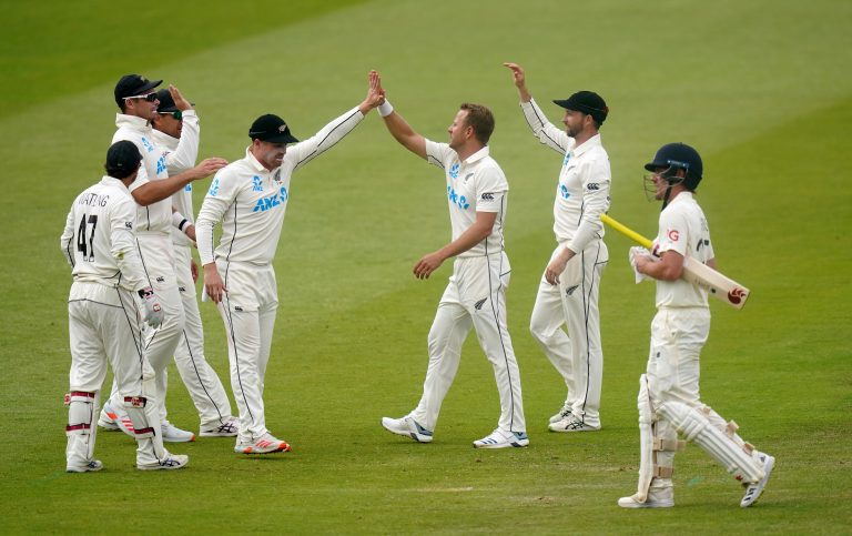 Neil Wagner, centre right, was full of endeavour for New Zealand (Adam Davy/PA)