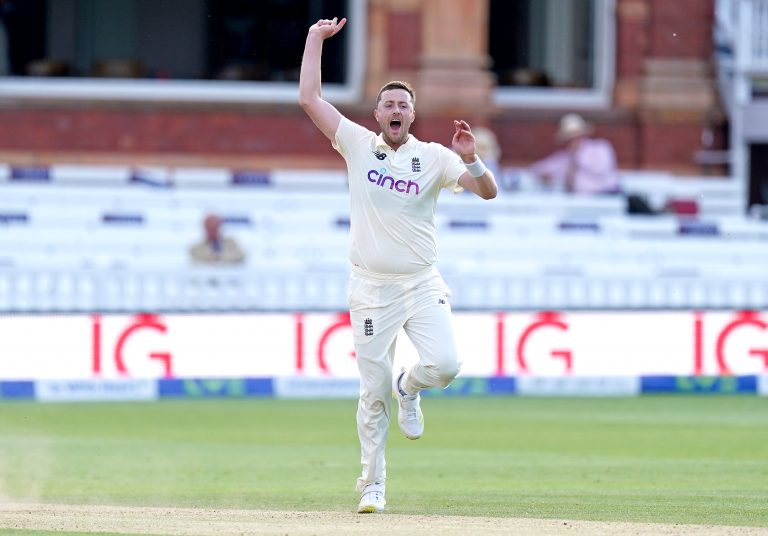 Ollie Robinson takes a wicket