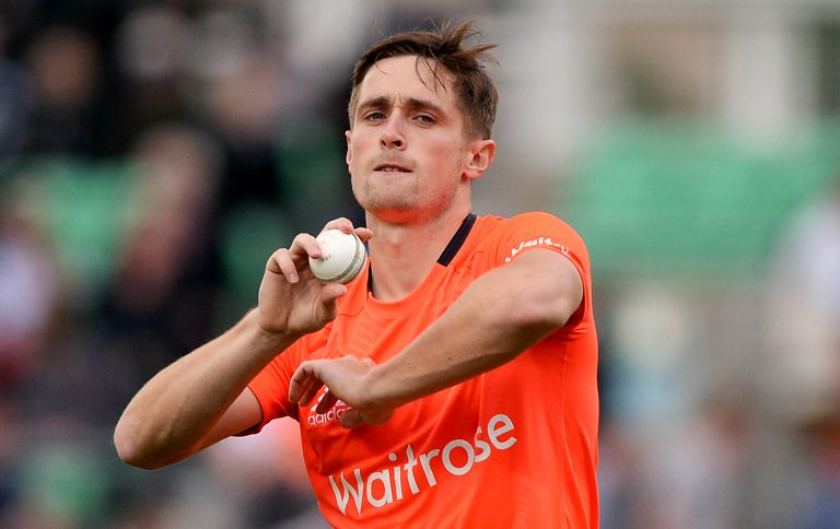 Chris Woakes in action