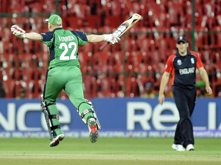 Kevin O'Brien celebrates scoring his World Cup century against England