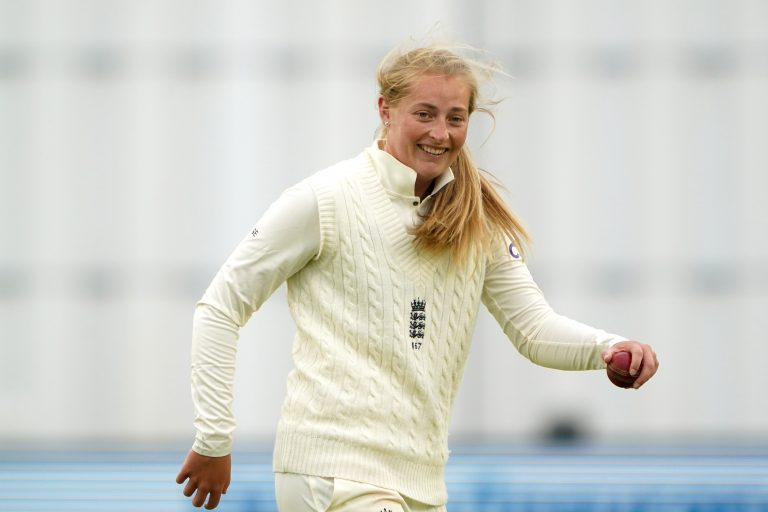 England's Sophie Ecclestone claimed three wickets at the start of day three as India were bowled out for 231 in the first innings