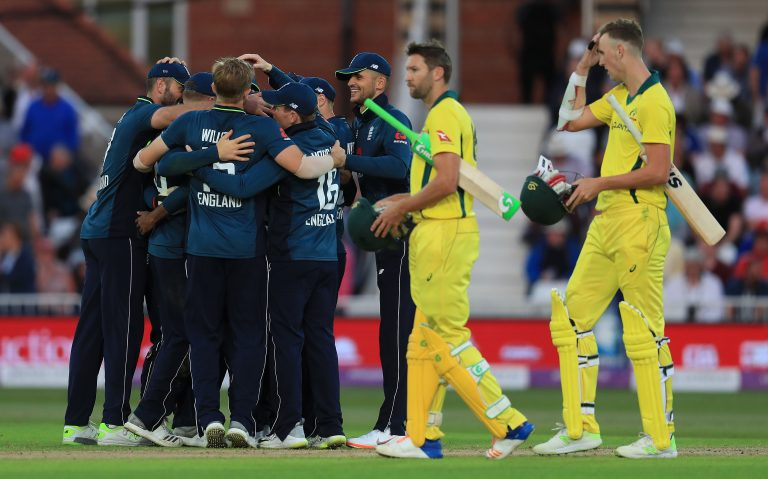 England celebrate their historic victory