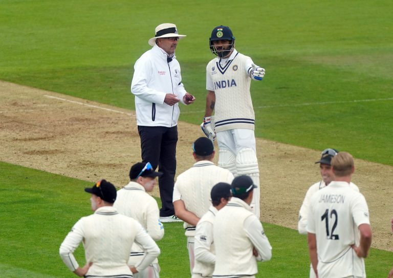 Kohli deep in discussion with umpire Richard Illingworth at the Ageas Bowl.