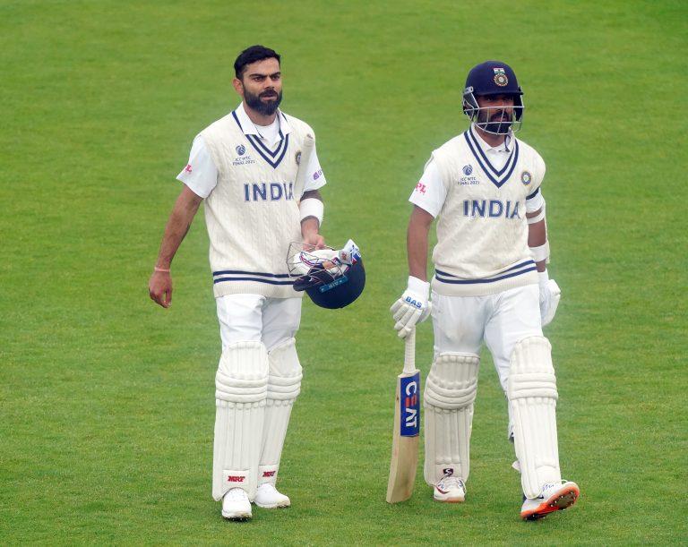 Virat Kohli (left) and Ajinkya Rahane helped India to 146 for three at the close of day two