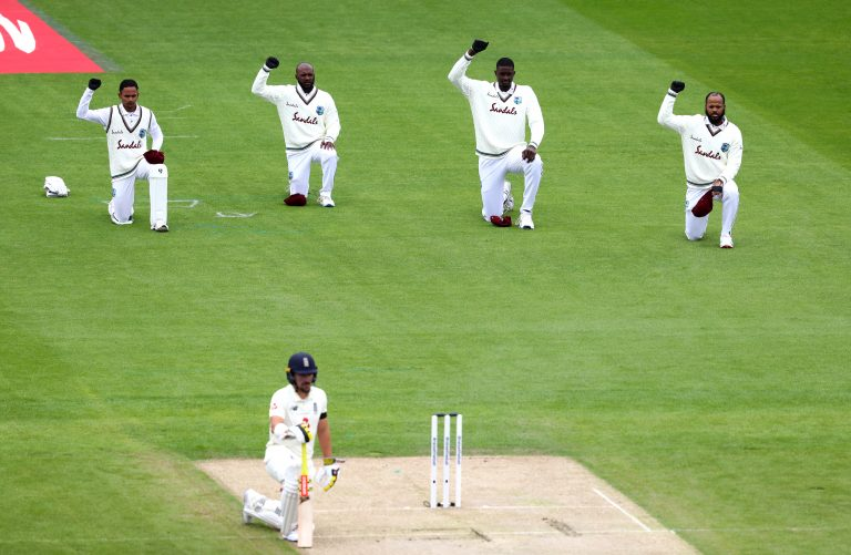 England and West Indies players took a knee before their Test matches
