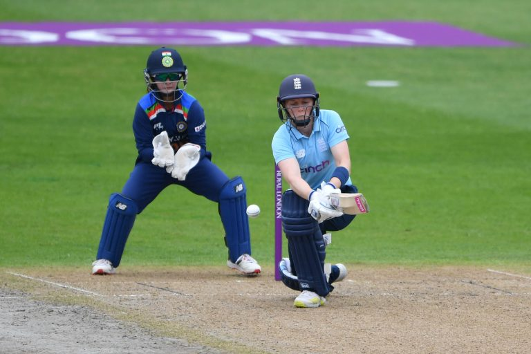 England's Heather Knight  in action against India at Worcester