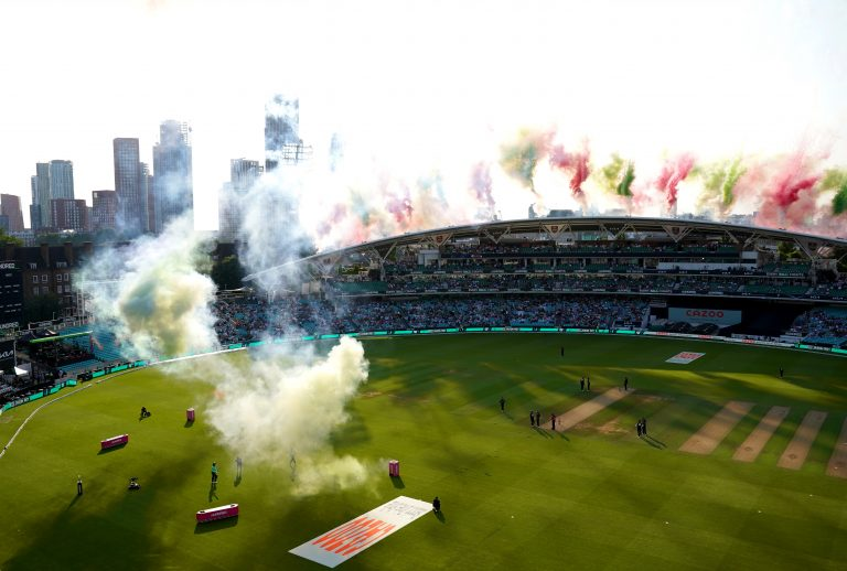 A pyrotechnics display preceded the start of the match