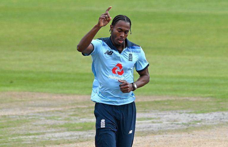 England's Jofra Archer celebrates a wicket