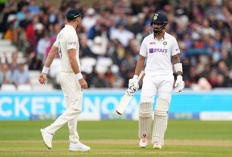 India's KL Rahul (right) exchanges words with England's Jimmy Anderson