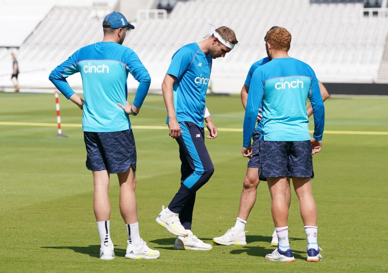Stuart Broad tests his right ankle during a nets session at Lord's