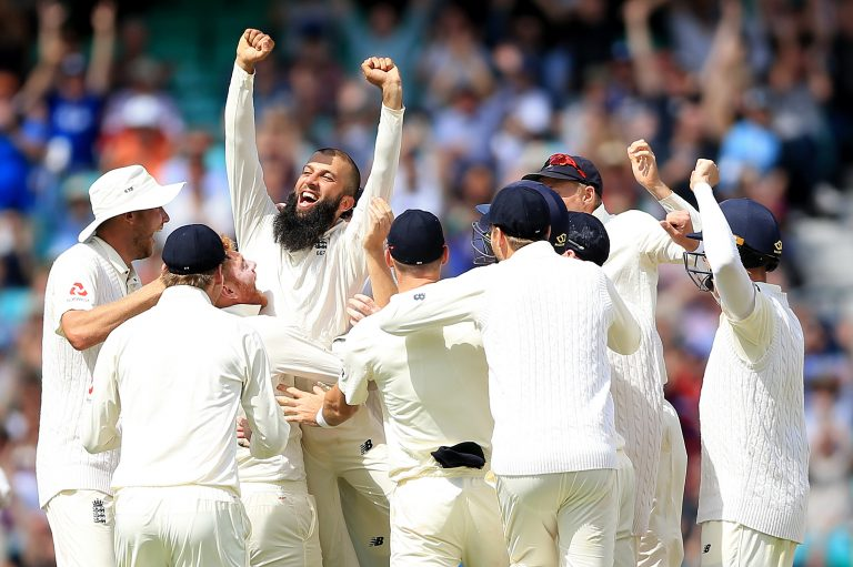 Moeen celebrating his 2017 hat-trick at The Oval.