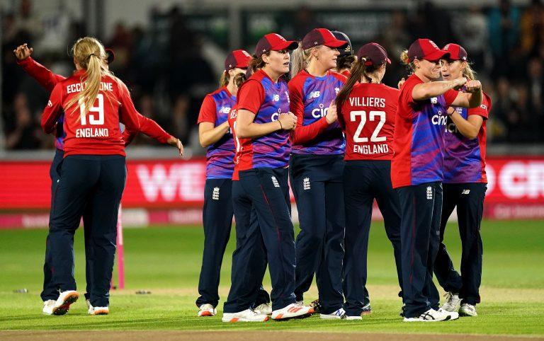England celebrate winning
