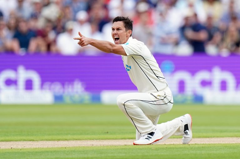 Trent Boult, pictured, and Tim Southee shared all 10 England wickets at Eden Park in early 2018 (Mike Egerton/PA)