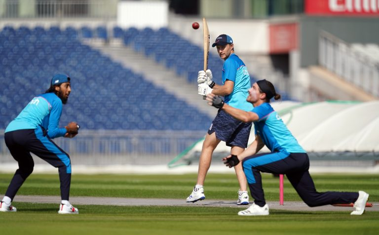 England completed their final training session at Old Trafford, but India were nowhere to be seen.