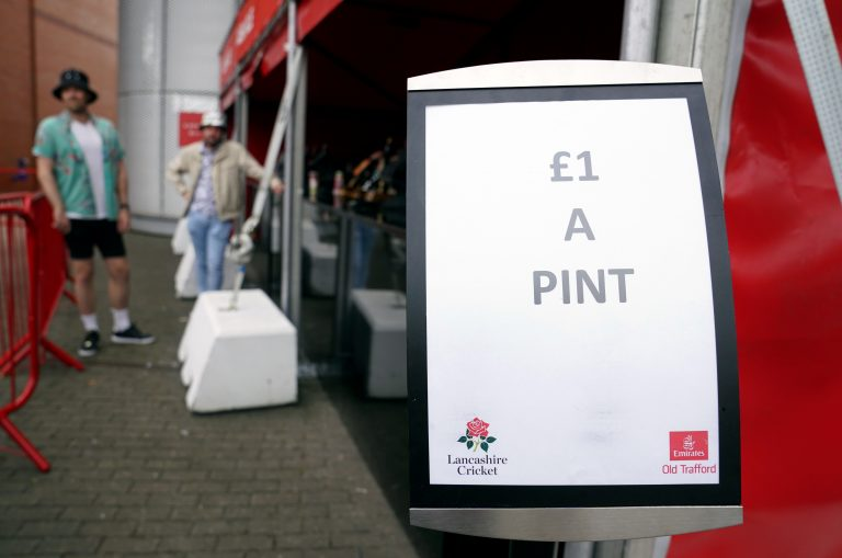 A bar at Old Trafford seeks to clear stock of beer at GBP 1 a pint