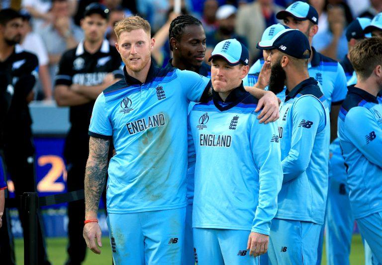 Ben Stokes (left) and Eoin Morgan celebrate