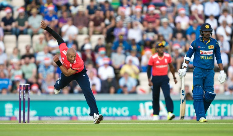 Tymal Mills in action for England back in 2016