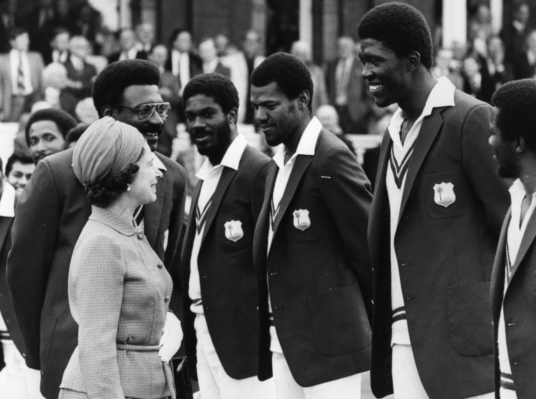 Queen Elizabeth II at Lord's meeting the West Indian cricket team
